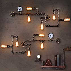 LightInTheBox Loft Industrial Wall Lamps Antique Edison Wall lights with Bulbs E26/E27 Vintage Pipe Wall Lamp for Living Room Lighting (Black)