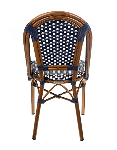 Table in a Bag CBCNW Faux Bamboo All-Weather Wicker Stackable Bistro Chair, Navy with White Accents - Classic French Bistro cafe chair Durable faux bamboo chair with aluminum frame Chair is stackable for easy storage - patio-furniture, patio-chairs, patio - 51mOdj1wchL -