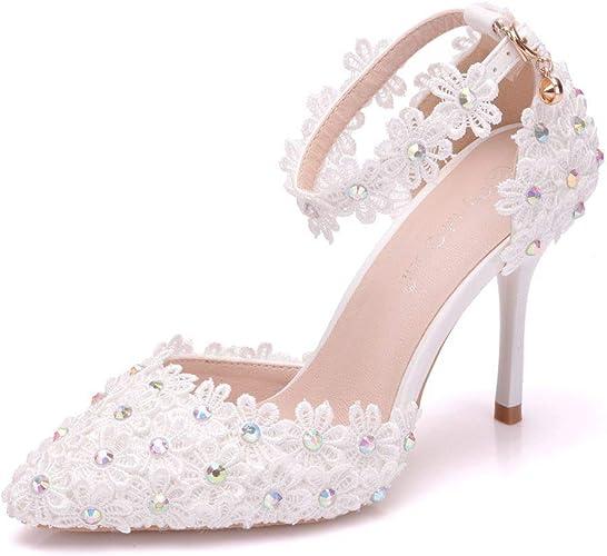 Amazon Com Women Ankle Strap High Heels Sandals White Lace