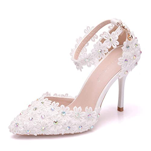 82a6040ad2036 Women Ankle Strap High Heels Sandals White Lace Rhinestone Diamond Party  Dress Evening Wedding Shoes Pumps Sandals