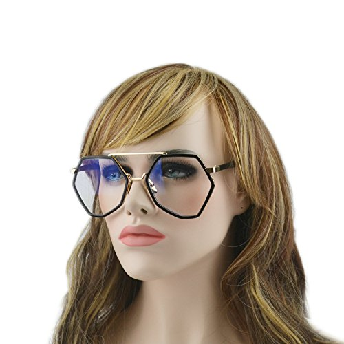 MINCL/Geometric Frame Sunglasses Oversize White And Black Suglasses (black-clear, - White Sunglasses Mens Designer