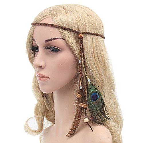 Gilroy Women Boho Style Feather Headband Hippie Weave Hairband Hair Accessory - - Gilroy Shops