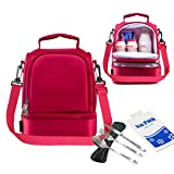 HOMEASY Insulated Lunch Bag Tote With Double Deck Bento Cooler - Keep Food Fresh Fit For Women Man Kid Scout Going Picnic Travel Camping - Free cutlery set and Ice Pack included - 8L