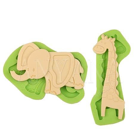 Anyana 2pcs serie Animal Elefante Jirafa cocina herramientas 3d molde de silicona pastel de fondant decoración