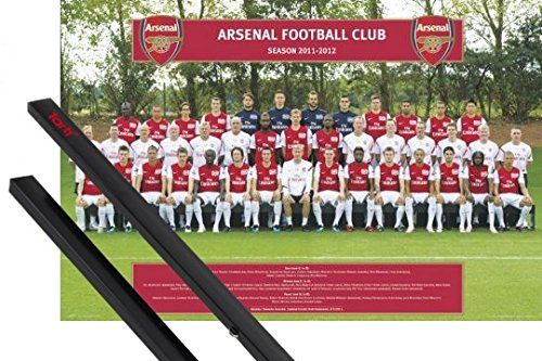 1art1 Poster + Hanger: Football Poster (36x24 inches) Arsenal FC, Team Photo 11/12 and 1 Set of Black Poster Hangers