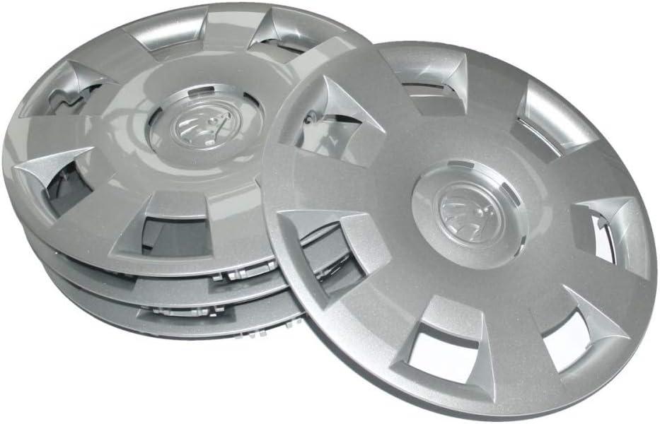 Skoda 5ja071454 Radkappen 4 Stück Radzierblenden Metis 14 Zoll Radblenden Für 5jx14 Stahlfelgen Silber Auto