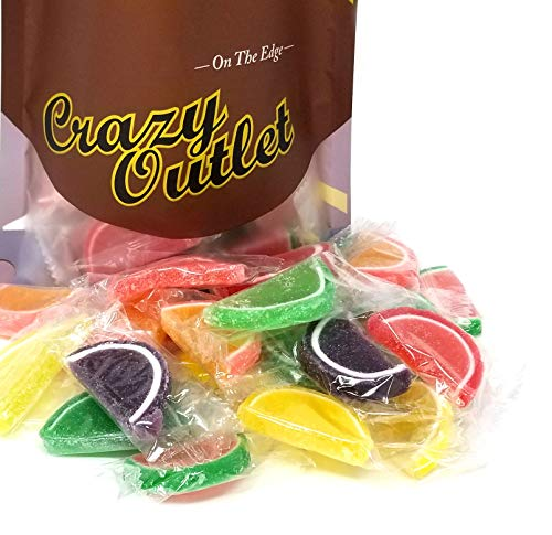 CrazyOutlet Pack - Jelly Candy Fruit Slices, Individually Wrapped, Assorted Flavors Bulk Candy, 2 - Individually Slices Wrapped