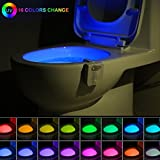 16-Color UV Sterilization Toilet Night Light Gadget, Motion Sensor Activated LED Lamp, Fun Washroom Lighting Add on Toilet Bowl Seat with Aromatherapy for Dad, Kids, Toddler Potty Training Funny Gifts
