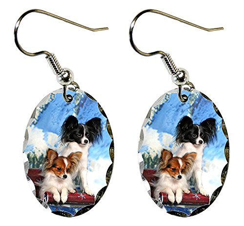 Canine Designs Papillon Scalloped Edge Oval Earrings