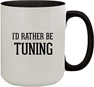 I'd Rather Be TUNING - 15oz Colored Inner & Handle Ceramic Coffee Mug, Black