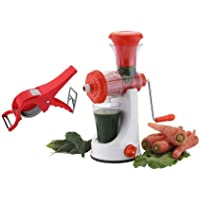 Analog Kitchenware Plastic Multipurpose Manual Red Hand Juicer with 2 in 1 Multi Veg Cutter Combo