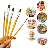 MZD8391 5PC Nylon Hair Wooden Art Paint Brush Set for Artist, Watercolor, Acrylics, Oil, Body, Nail, Face Painting