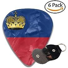 Flag Of Liechtenstein 351 Shape Classic Medium Celluloid Guitar Picks Bass Musical Instruments Plectrums 6-Pack