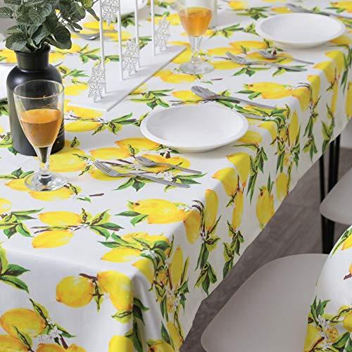Shang Fei Mesa de Centro Redonda de limon Mantel de Cocina con limon Fresco Mantel Impermeable nordica (Color : Yellow, Specification : 135CM X 200CM)