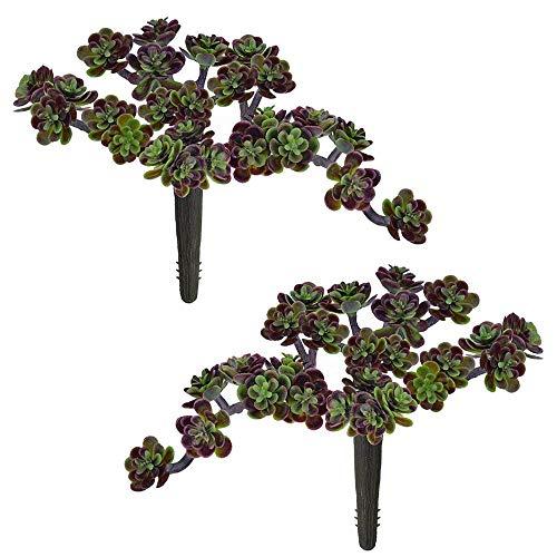 Supla 2 Pcs Artificial Succulents Sedum Picks in Green Burgundy - 6 Wide Artificial Succulents Plants Unpotted Fake Succulent Bouquet Succulent Wreath Floral Arrangement Mothers gift