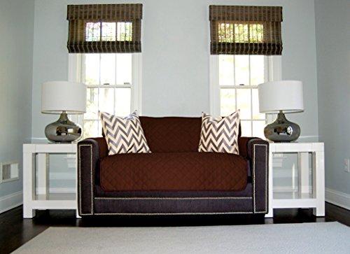 The Original SOFA SHIELD Reversible Furniture Protector, Features Elastic Strap (Loveseat: Chocolate/Beige) (Dark Chocolate Loveseat)