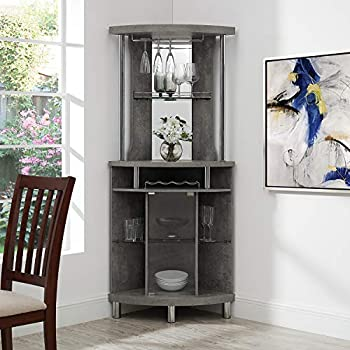 Image of Home and Kitchen Home Source Corner Bar Unit, Concrete