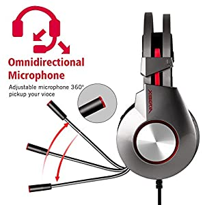PS4 3.5mm Headset for Xbox One Headphones Wired Over Ear Surround Sound with Microphone Switch Stereo Bass Volume Control Noise Isolating for Laptop, Mac, Computer, Tablet (Silver & Red)