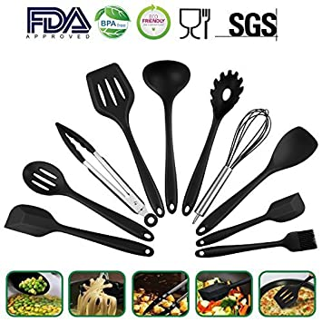 Utensilios de cocina Set – 10 piezas alta calidad herramientas de cocina de silicona – Resistente