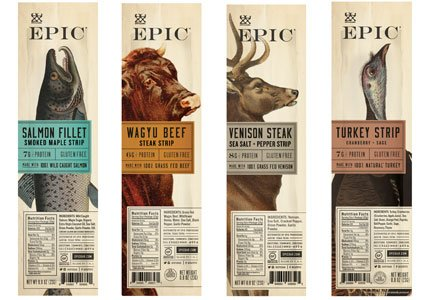 Epic Snack Strips, Paleo Jerky: Wagyu Beef, Turkey Cranberry, Venison Salt and Pepper Steak, Smoked Salmon Maple (4 Pack Sampler)