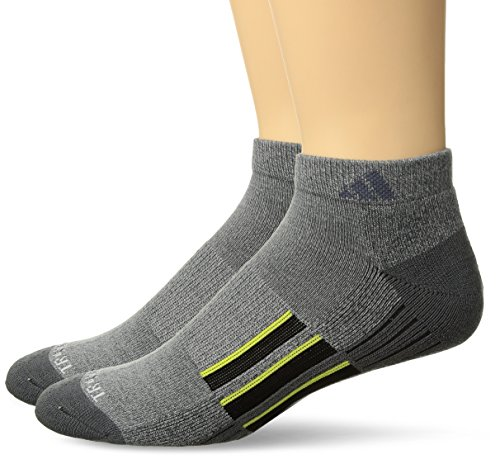adidas Mens Climalite X II Low Cut Socks (2-Pack), Onix Light Onix Marl/Onix/Black/Shock Slime, Large