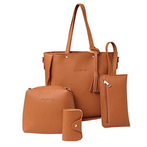 Clearance! Women Four Set Handbag, Neartime Solid Color Shoulder Bags Open Single Tote Bag Versatile Crossbody Wallet (Shoulder Bag:24cm(L)26.5cm(H)11cm(W), B-Brown) by Neartime Bags