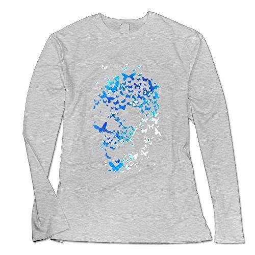 Women's Round Neck Butterfly Skulls Print Pattern Tops Sexy Long Sleeve Blouse Shirt