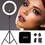 GVM Ring Light kit 19-inch, Professional CRI97+ Bi-Color Led Ring Light with LCD Display, Stand, Bluetooth Receiver, Plug-in Cable,Phone Holder,Bag,for Makeup Lighting, YouTube, Portrait Video Shoot