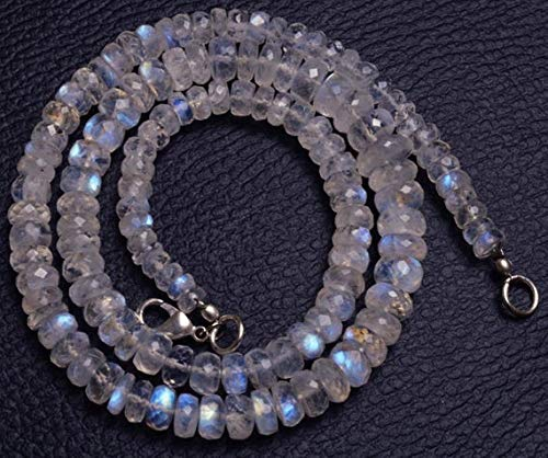 GemAbyss Beads Gemstone 1 Strand Natural 18 inch AAA+++ Blue Flash top Quality Rainbow Moonstone Faceted Rondelle Big Beads Necklace Briolettes 5 to 10 MM Code-MVG-29253