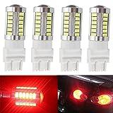KATUR 4pcs 3157 3047 3057 3155 5630 33-SMD Red 900 Lumens 8000K Super Bright LED Turn Tail Brake Stop Signal Light Lamp Bulb 12V 3.6W