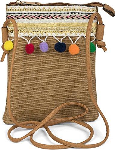 styleBREAKER minibolso de bandolera con pompón y un colorido ribete de bisutería en estilo étnico, bolso de hombro, bolso, de señora 02012128, color:Rojo Marrón Claro