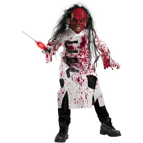 Witch Doctor Costume Halloween (Demented Doctor Costume, Black/Red/White, Large/10-12)