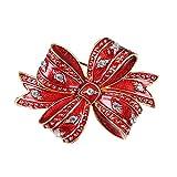 JAJAFOOK Christmas Cute Brooch Pins Cubic Zirconia Red Christmas Knot Brooch, Christmas Gift