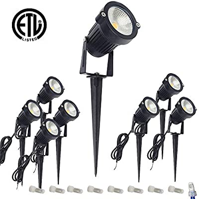 ALEDECO LED Landscape Lighting Low Voltage DC12V 5W,Outdoor Spotlight Pathway Lights,Garden Tree Flag Uplights with Spike Stand,Warm White 3000K?Waterproof IP65