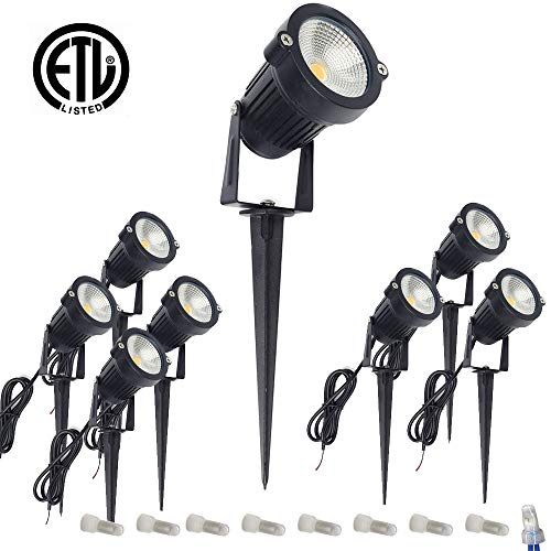 ALEDECO Outdoor Led Landscape Lights 12V 5W Low Voltage Waterproof Garden Pathway Tree Spotlight (8 Pack)