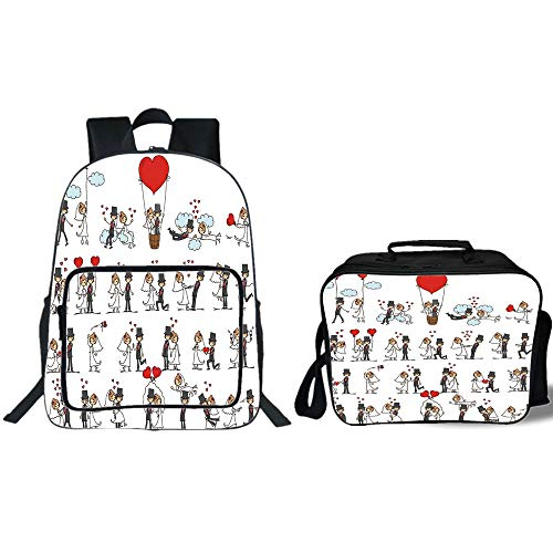 ckpack & Lunch Bag Bundle,Wedding Decorations,Cartoon Style Couple on Clouds with Hearts Cute Love Themed,Red Mint Green Grey,for Boys Girls ()