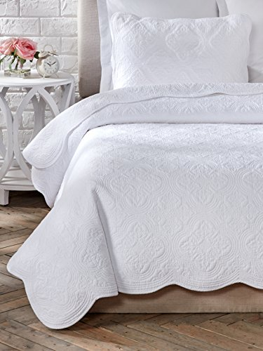 Bb Shell Set - Cozy Line Home Fashions White Size 2 Piece Blantyre Scalloped Edge Cotton Quilt Set, Twin