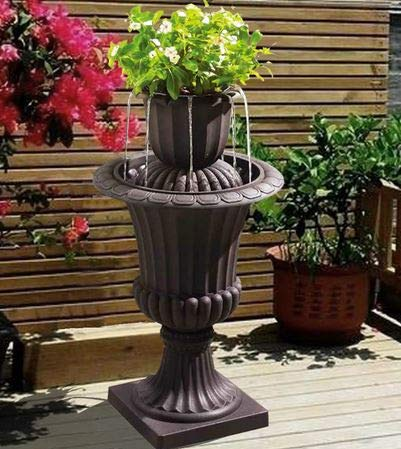 Ark Dcor- Backyard Water Fountains Outdoor - Brown Polyresin Urn Design Two Tier with Pump - Bring Charm to Your Garden Or Veranda with This Eye-Catching Fountain