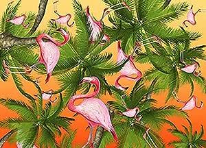 تابلوه المناظر الطبيعية لطائر الفلامينغو 45 سم × 30 سم - 2724819410192