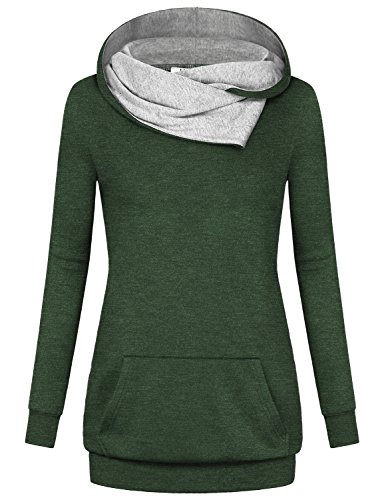 Miusey Casual Hoodies for Women, Long Sleeve Blouse Lightweight Pullover Hoody Vintage Hoodie Athleisure Wear Figure Flattering House Clothes Spandex Fabric Cute Jerseys Sweatshirts Green M