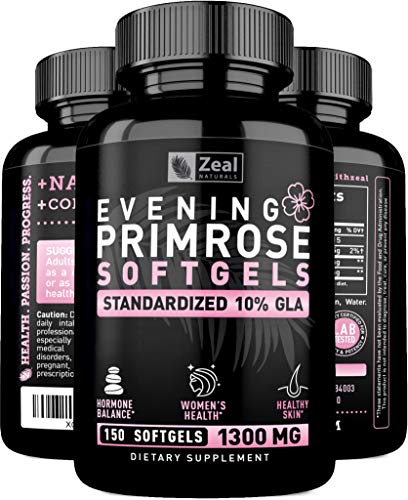 Evening Primrose Oil Capsules (150 Liquid Softgels | 1300mg) Pure Evening Primrose Oil Pills with 10% GLA - Cold-Pressed - Natural Hormone Balance for Women for PMS Relief, Menopause Relief, and Acne