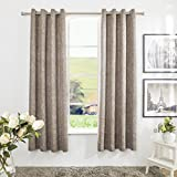 Mayding Home Fake linen Poly Linen Two Tone Thermal Insulated Grommet blackout window panel curtain 50 by 63 inch 50 by 84 inch 50 by 96 inch … (50X84inch, Latte) For Sale