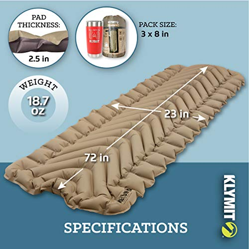 Klymit Static V Sleeping Pad, Lightweight, Outdoor Sleep Comfort for Backpacking, Camping, and Hiking, Inflatable Camping Mattress