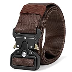 SANSTHS Tactical Belt for Men, Military Style Webbing Riggers Web Belt with Heavy-Duty Quick-Release Metal Buckle Material: Sturdy Quick Release Buckle: Zinc Alloy Material Quality Nylon Webbing Strap: Environmental Friendly Nylon Fabric Prac...