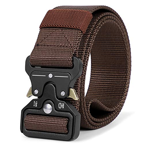 Mens Tactical Belt Heavy Duty, Military Style Army Nylon Web Belt 1.5 inch with Quick-Release Buckle, Coffee ()