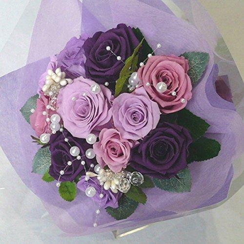 枯れない花 プリザーブドフラワー 花束(誕生日記念日お祝いプロポーズ等に最適) (パープル) B00QKC990Y パープル パープル