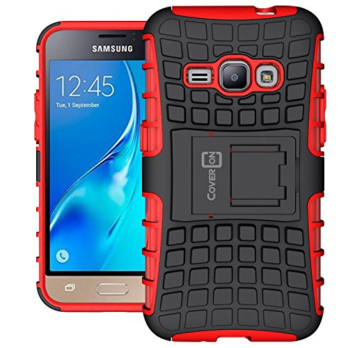 Galaxy Express 3 Case, Samsung Luna case (2016), CoverON [Atomic Series] Hybrid Armor Cover Tough Protective Hard Kickstand Phone Case for Samsung Galaxy J1 Luna 4G LTE - Red / Black