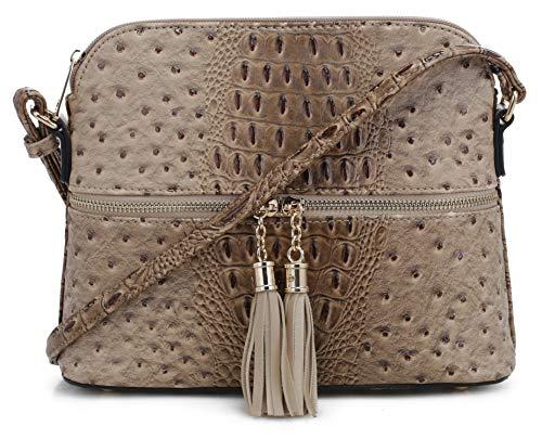 SG SUGU Crocodile Pattern Lightweight Medium Dome Crossbody Bag with Tassel | Taupe