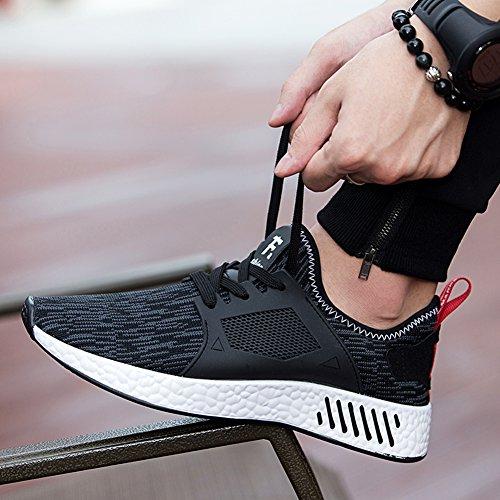 Dewuseller de los hombres Zapatillas de Deporte en running de malla transpirable y Knit Zapatos para Correr Negro/gris