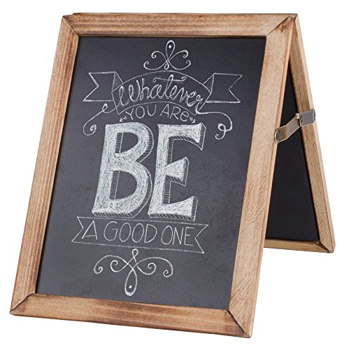 Dwellbee Rustic Wood Collapsible Double Sided Chalkboard Sign, 7.5